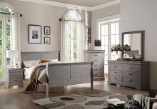 Acme 25500Q 4 pc louis philippe iii antique gray finish wood queen sleigh bedroom set