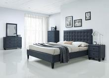 Acme 25660Q 4 PC Saveria two tone grey faux leather padded queen size bed set