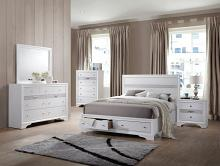 Acme 25770Q 5 pc naima white finish wood underbed drawers queen platform bed set