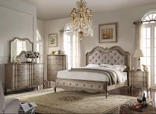 Acme 26050Q 4 pc chelmsford antique taupe finish wood beige fabric tufted queen bedroom set