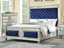 Acme 26150Q Rosdorf park elginpark blue velvet silver mirrored finish wood queen bed