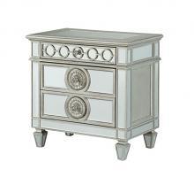 Acme 26153 Rosdorf park hallmark varian silver and mirror finish wood 2 drawer nightstand