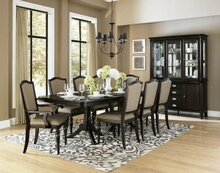 7 pc marston collection dark cherry finish wood dining table set with fabric padded seats and backs