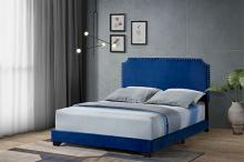 Acme 26760Q Latitude run Haemon blue fabric upholstered queen bed frame set