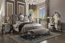 Acme 26820Q 5 pc Versailles antique platinum finish wood queen bedroom set decorative carvings velvet tufted accents