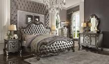 Acme 26840Q 5 pc Versailles II antique platinum finish wood queen bedroom set decorative carvings tufted accents