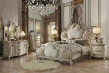 Acme 26880Q 5 pc Picardy antique pearl finish wood queen bedroom set decorative carvings tufted accents