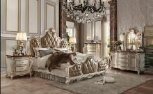 Acme 26900Q 5 pc Picardy II antique pearl finish wood queen bedroom set decorative carvings tufted accents