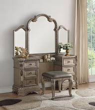 Acme 26940-43 3 pc Rosdorf Park Leanos nortville antique champagne finish wood bedroom make up vanity