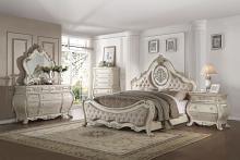 Acme 27010Q 4 pc Ragenardus II vintage white finish wood queen bedroom set decorative carvings tufted accents