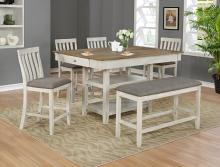 2715T-4260 6 pc Gracie oaks nina two tone finish wood counter height dining table set fabric seats