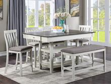 2715CG-T-4260 6 pc Gracie oaks nina chalk white and gray finish wood counter height dining table set fabric seats