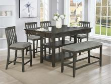 2715GY-T-4260 6 pc Gracie oaks nina gray finish wood counter height dining table set fabric seats