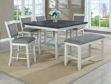2727CG-T-4848 6 pc Gracie oaks fulton two tone finish chalk white and grey wood counter height dining table set fabric seats