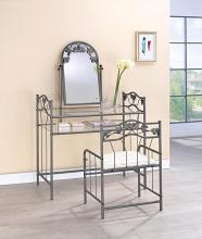 2734 3 pc Olympic arbor josephine pewter finish metal glass bedroom vanity make up dressing table