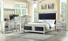 Acme 27350Q 5 pc Varian mirrored silver finish wood tufted black velvet fabric queen bedroom set