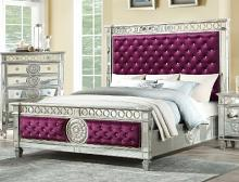Acme 27370Q Rosdorf park elginpark burgundy velvet silver mirrored finish wood queen bed