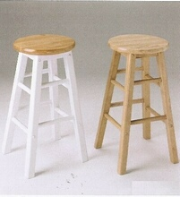Set of 2 natural finish bar stools