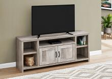 """TV STAND - 60""""L / TAUPE RECLAIMED WOOD-LOOK"""