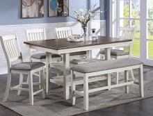 2742CGT-4064 6 pc Gracie oaks Jorie dark two tone chalk white and grey finish wood counter height dining table set fabric seats