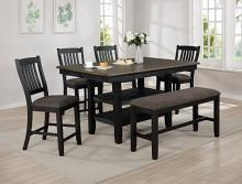 2742T-4064 6 pc Gracie oaks Jorie dark two tone finish wood counter height dining table set fabric seats