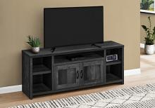 """TV STAND - 60""""L / BLACK RECLAIMED WOOD-LOOK"""