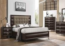 5 pc Tablita dark merlot finish wood fabric padded queen bedroom set