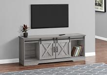 """TV STAND - 60""""L / GREY WITH 2 SLIDING DOORS"""