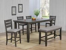 2752GY-T-4278-6PC 6 pc Gracie oaks bardstown grey wood finish counter height dining table set with bench