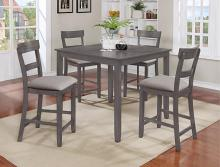 2754SET-GY 5 pc Gracie oaks henderson grey finish wood counter height dining table set