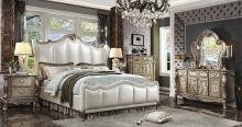 5 pc Dresden II gold patina finish wood and leatherette padded queen bedroom set