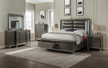 5 pc Sadie dark champagne finish wood and leatherette padded queen bedroom set