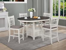 2795CG-T-4260 5 pc Winston porter renshaw hartwell chalk white grey finish wood counter height oval dining table set