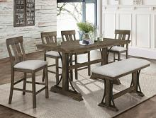 2831T-3671-6pc 6 pc Gracie oaks quincy medium finish wood counter height dining table set