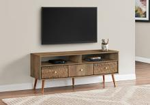 """TV STAND - 48""""L / WALNUT MID-CENTURY WITH 3 DRAWERS"""