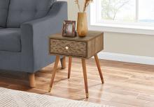 """ACCENT TABLE - 20""""H / WALNUT MID-CENTURY WITH A DRAWER"""
