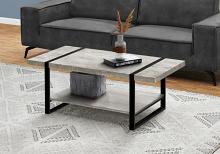 COFFEE TABLE - GREY RECLAIMED WOOD-LOOK / BLACK METAL