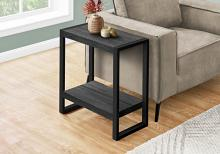 ACCENT TABLE - BLACK RECLAIMED WOOD-LOOK / BLACK METAL