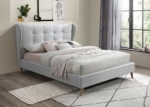Acme 28960Q House of hampton colgan duran grey fabric art deco mid century modern style queen bed set