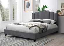 Acme 28970Q house of hampton colgan giada grey fabric art deco mid century modern style queen bed set