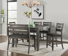 VH-2900-6PC 6 pc Gracie oaks mason living grey finish wood counter height dining table set
