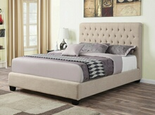 Chloe collection oatmeal fabric tufted and upholstery queen size bed set