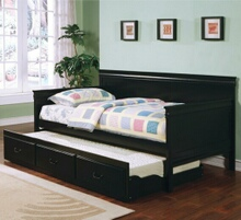 Coaster 300036BLK Louis phillip style black finish wood day bed with slide out trundle made with solid wood and veneers