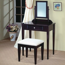 Espresso finish wood 3 pc bedroom vanity makeup set