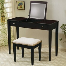 Espresso finish wood vanity set with flip up mirror and stool