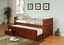 2 pc la salle ii collection transitional style cherry finish wood captains day bed with trundle with drawers