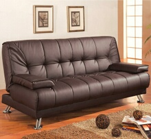 Brown vinyl folding futon sofa bed with removable arms