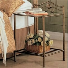 Antique brush gold finish metal nightstand with glass shelf