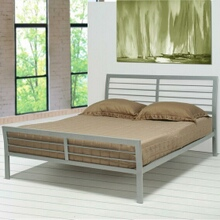 Horizontal slat contemporary metal silver finish platform queen bed with supports