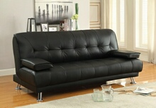 300205 Black vinyl folding futon sofa bed with removable arms